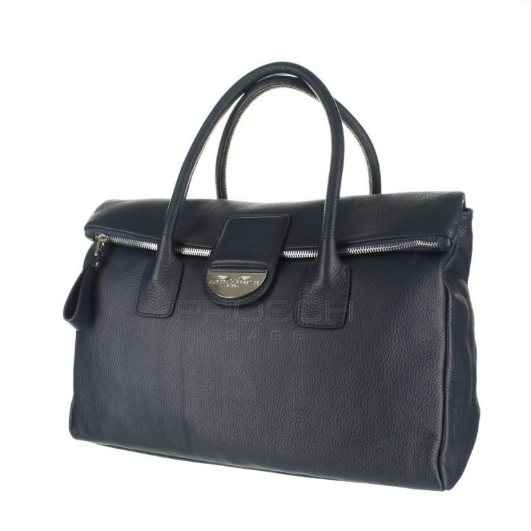 Kožená kabelka Aurora Prestige London L modrá