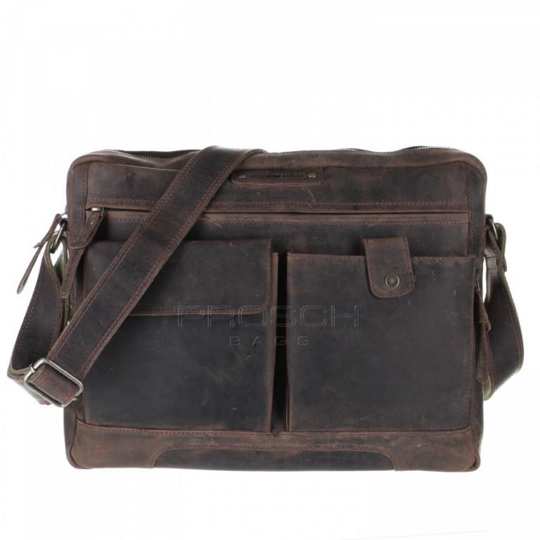 Kožená taška Greenburry Revival 1963-22 hnědá