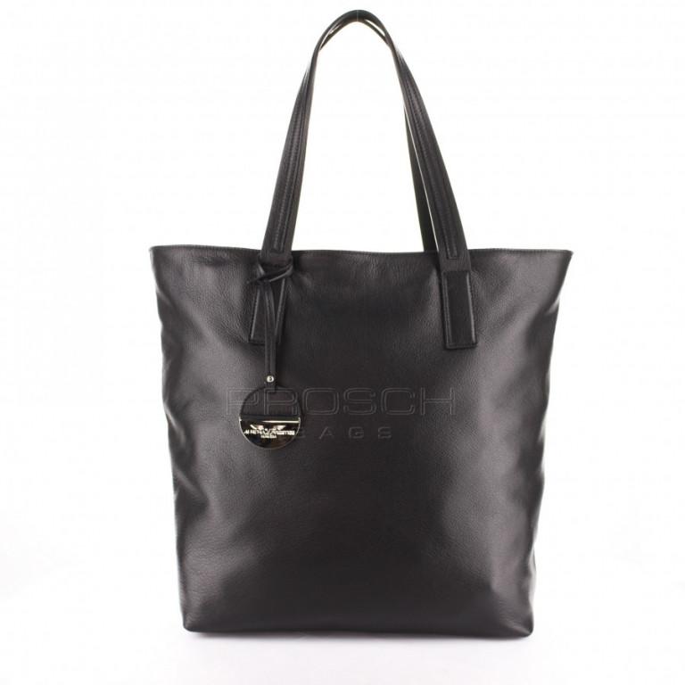 Kožená kabelka Aurora Prestige Prag-M černá