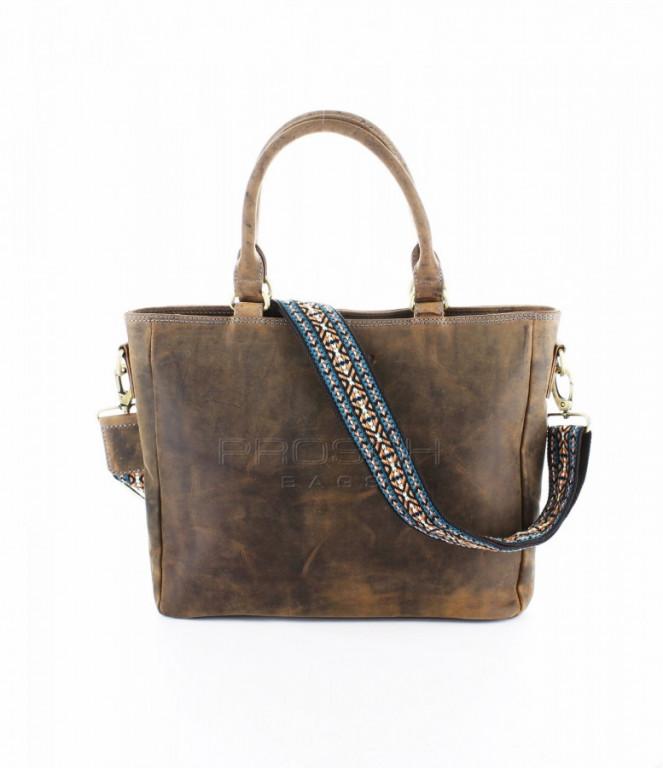 Kožená kabelka Greenburry Santana 1620-25 hnědá
