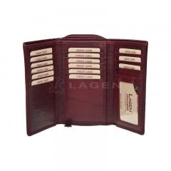 Dámská kožená peněženka LAGEN HT-32/T tm.červená č.2