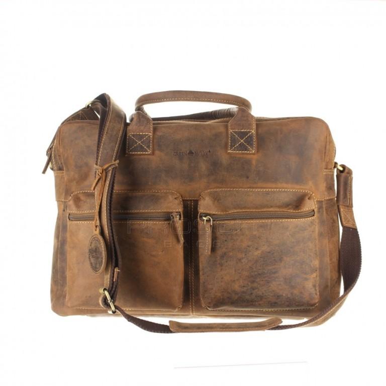 Kožená taška Greenburry Officebag 1674-25 hnědá