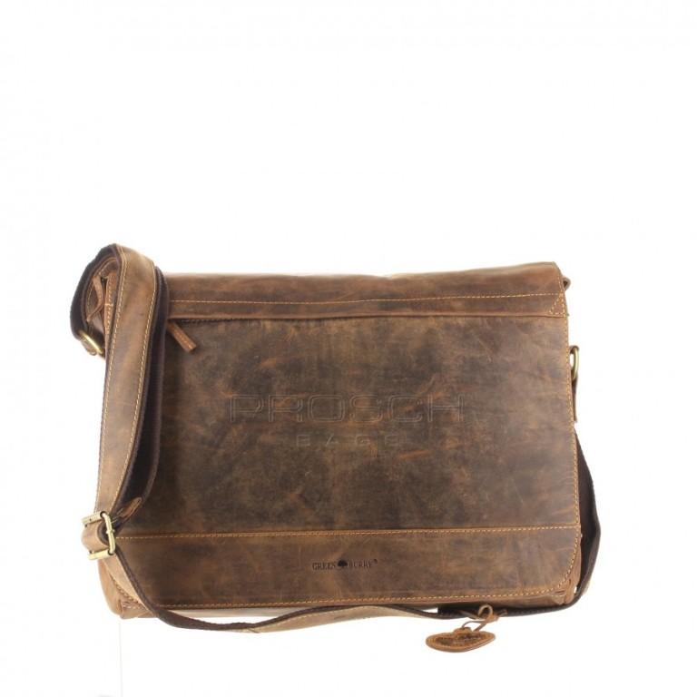 Kožená taška Greenburry 1766B-25 hnědá