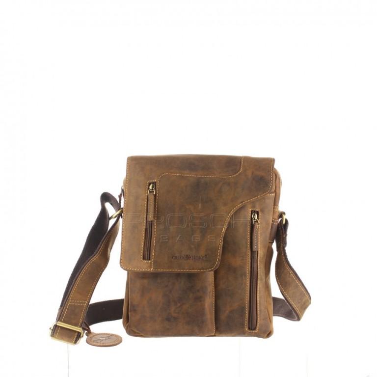Kožená taška Greenburry Revolver Bag 1694-25 hnědá