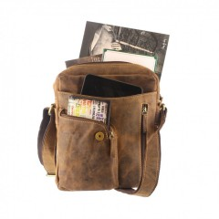 Kožená taška Greenburry Revolver Bag 1694-25 hnědá č.2
