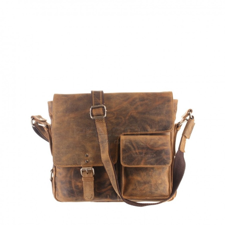 Kožená taška Greenburry 1913-M-25 hnědá