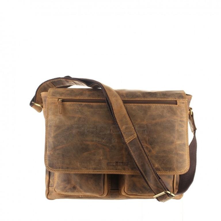 Kožená taška Greenburry 1781-25 hnědá